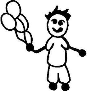 Balloon Boy Stick Figure Decal / Sticker 01