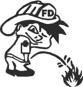 Z1 Pee On Decal / Sticker - Fire Boy Design