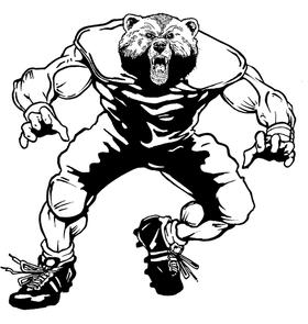 Football Bear Mascot Decal / Sticker 05