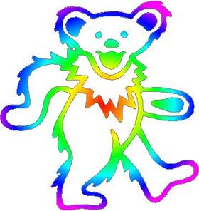Rainbow Dead Head Bear Decal / Sticker