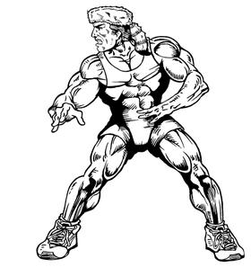 Wrestling Frontiersman Mascot Decal / Sticker 2