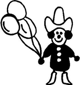 Balloon Cowboy Stick Figure Decal / Sticker