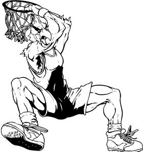 Basketball Cardinals Mascot Decal / Sticker Dunking