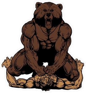 Wrestling Bear Mascot Decal / Sticker 01