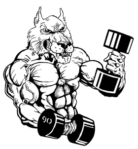 Weightlifting Wolves Mascot Decal / Sticker 1