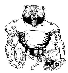 Football Bear Mascot Decal / Sticker 21