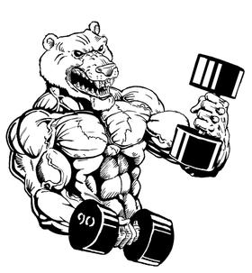 Weight Lifting Bear Mascot Decal / Sticker