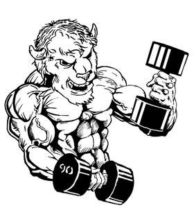 Weightlifting Buffalo Mascot Decal / Sticker wt5
