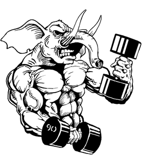 Weightlifting Elephants Mascot Decal / Sticker 5