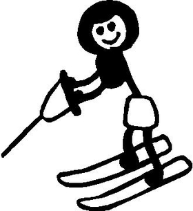 Water Ski Girl Stick Figure Decal / Sticker 01