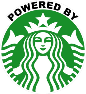 Powered By Starbucks Decal / Sticker 06