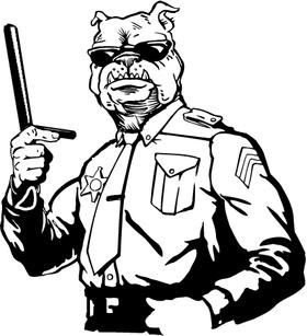 Bulldog Cop / Police Mascot Decal / Sticker