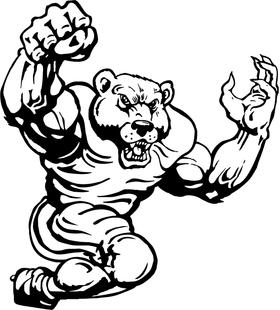 Football Bear Mascot Decal / Sticker 03
