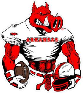 Football Arkansas Razorbacks Mascots Decal / Sticker 01