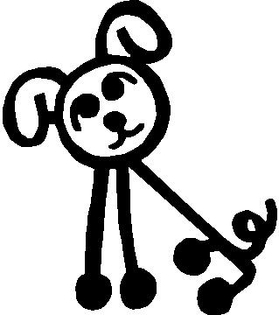 Dog Stick Figure Decal / Sticker 02