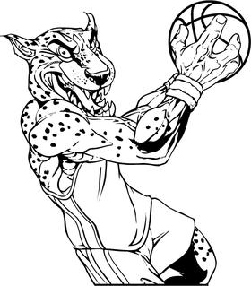 Cheetahs Basketball Mascot Decal / Sticker