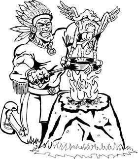 Braves / Indians / Chiefs Mascot Decal / Sticker Cooking a Bird