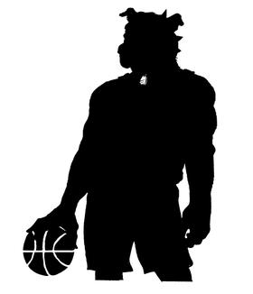 Basketball Bulldog Mascot Decal / Sticker 2