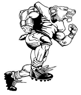 Football Bear Mascot Decal / Sticker 04B
