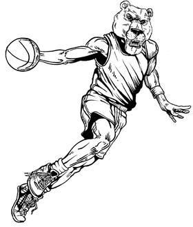Basketball Bear Mascot Decal / Sticker