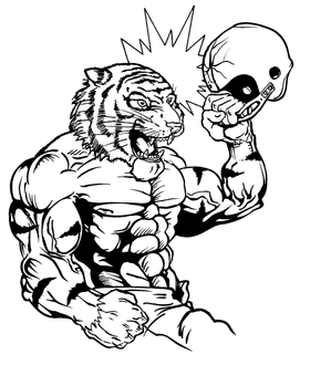 Football Tigers Mascot Decal / Sticker 3