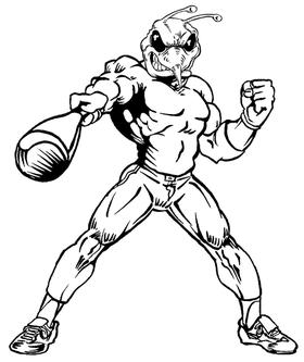 Baseball Batter Hornet, Yellow Jacket, Bee Mascot Decal / Sticker 06