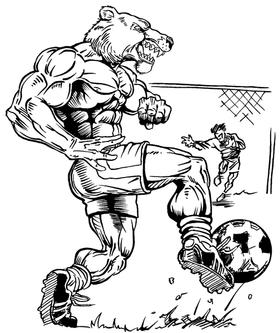 Soccer Bear Mascot Decal / Sticker
