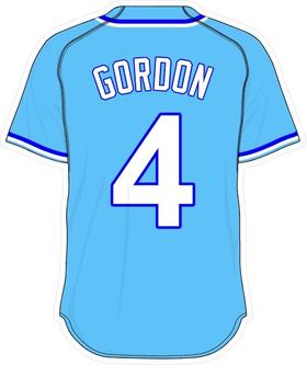 4 Alex Gordon Powder Blue Jersey Decal / Sticker