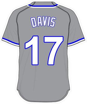 17 Wade Davis Gray Jersey Decal / Sticker