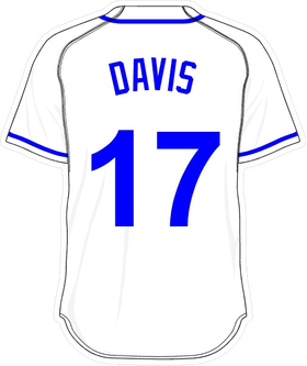 17 Wade Davis White Jersey Decal / Sticker