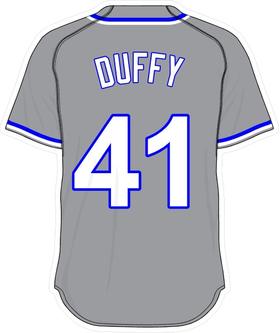 41 Danny Duffy Gray Jersey Decal / Sticker
