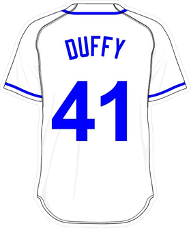 41 Danny Duffy White Jersey Decal / Sticker