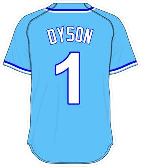 1 Jarrod Dyson Powder Blue Jersey Decal / Sticker