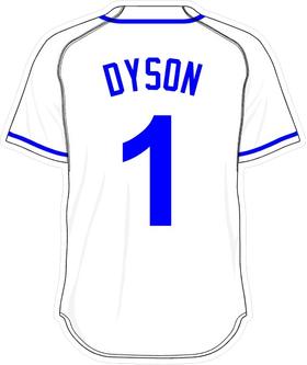 1 Jarrod Dyson White Jersey Decal / Sticker