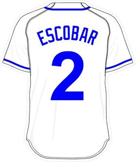 2 Alcides Escobar White Jersey Decal / Sticker