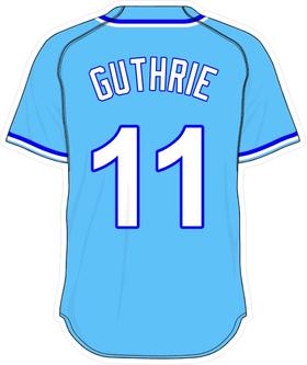 11 Jeremy Guthrie Powder Blue Jersey Decal / Sticker