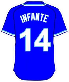 14 Omar Infante Royal Blue Jersey Decal / Sticker