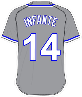 14 Omar Infante Gray Jersey Decal / Sticker