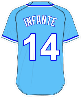 14 Omar Infante Powder Blue Jersey Decal / Sticker