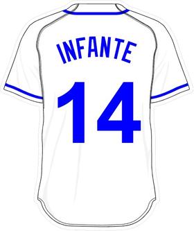14 Omar Infante White Jersey Decal / Sticker