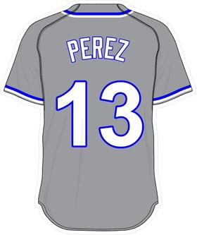13 Salvador Perez Gray Jersey Decal / Sticker