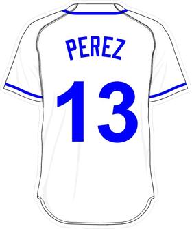 13 Salvador Perez White Jersey Decal / Sticker