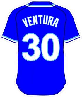 30 Yordano Ventura Royal Blue Jersey Decal / Sticker