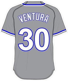 30 Yordano Ventura Gray Jersey Decal / Sticker
