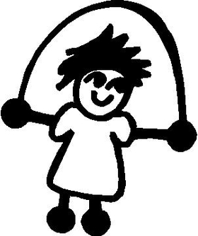 Jump Rope Girl Stick Figure Decal / Sticker