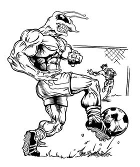 Soccer Hornet, Yellow Jacket, Bee Mascot Decal / Sticker 4