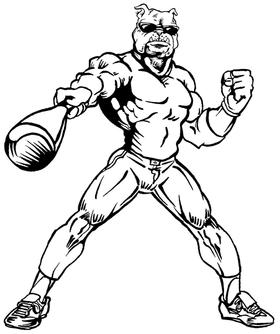 Baseball Bulldog Mascot Decal / Sticker 06