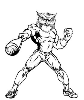 Baseball Owls Mascot Decal / Sticker 3
