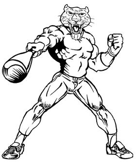 Baseball Cougars / Panthers Mascot Decal / Sticker 3