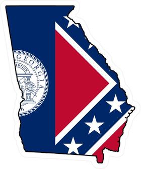 Georgia Outline State Flag Decal / Sticker 03